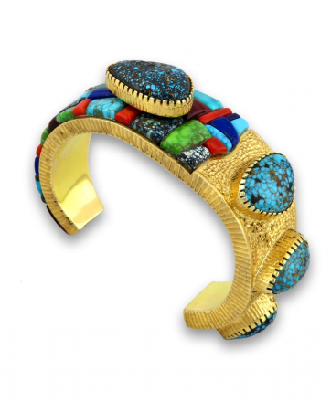 Alvin Yellowhorse Native American Jewelry Santa Fe 18K Gold Mosaic bracelet.