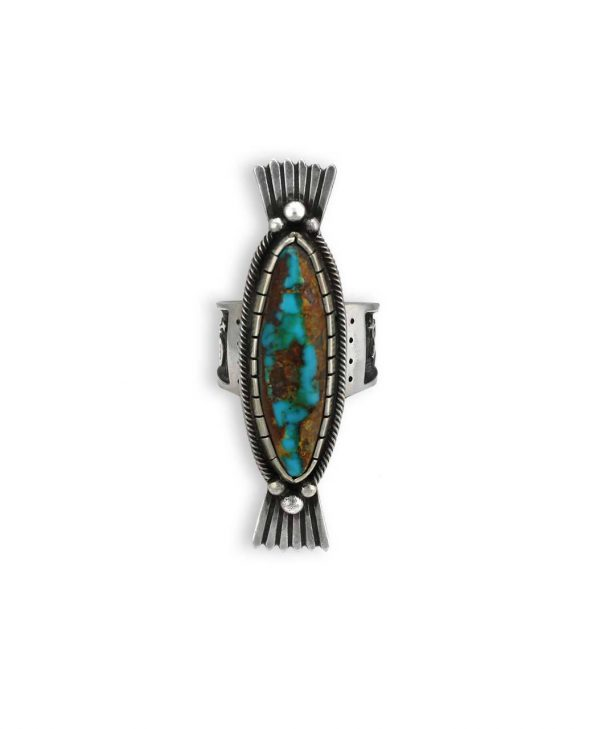 Arland Ben Santa Fe Native American Sterling Silver Turquoise Oval Ring