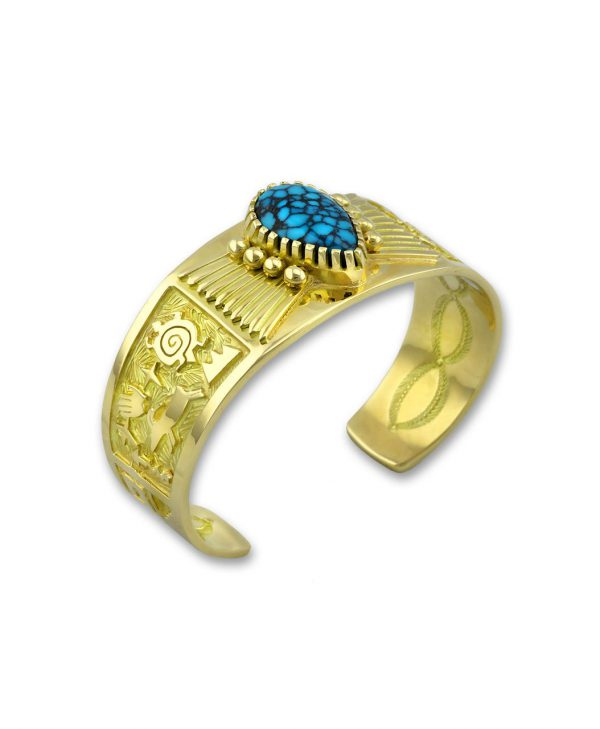 Arland Ben native american jewelry santa fe cuff with 18kt gold and Mountain turquoise.