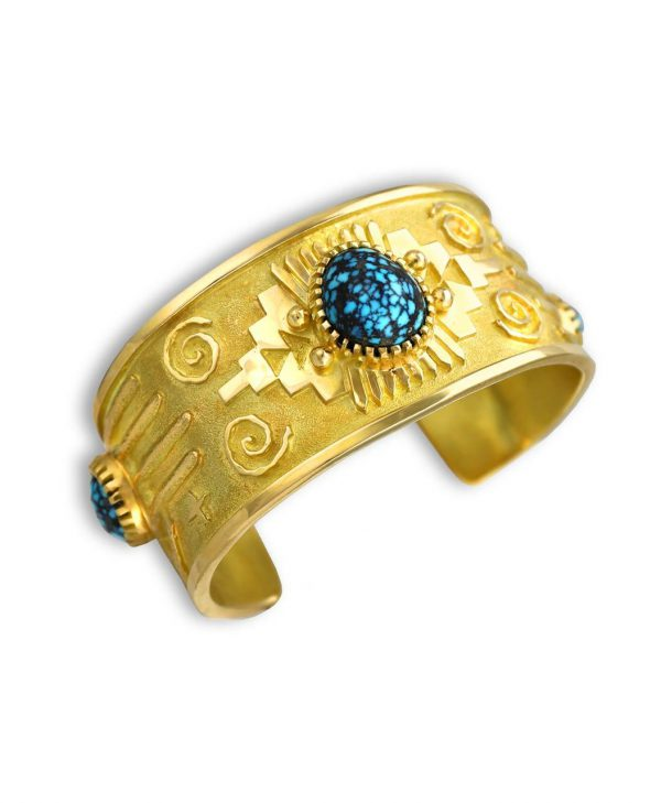 Arland Ben native american jewelry santa fe cuff with 18kt gold and lander blue turquoise.