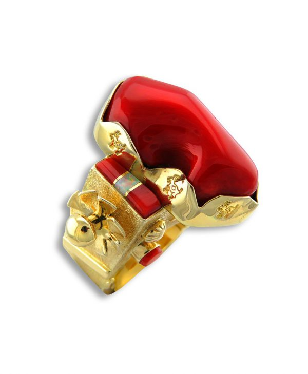 A deep red coral gold ring by Benson Manygoats Santa Fe Native American Jewelry.
