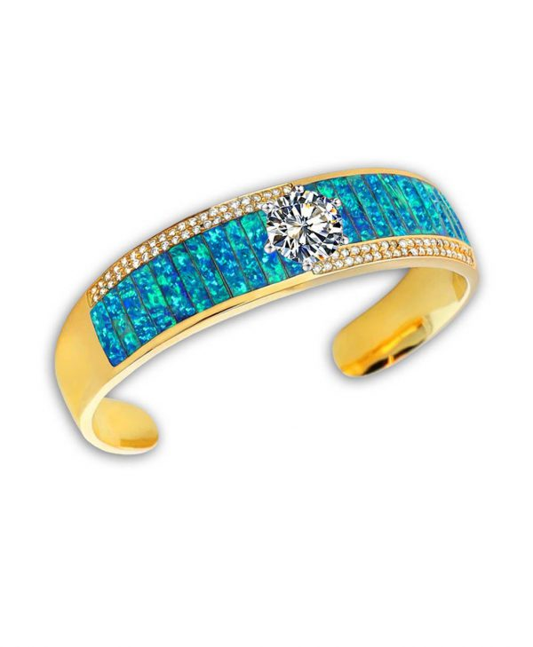 Santa Fe Native American Jewelry gets a stunning inlay piece with this 14k Gold Opal Diamond bracelet.