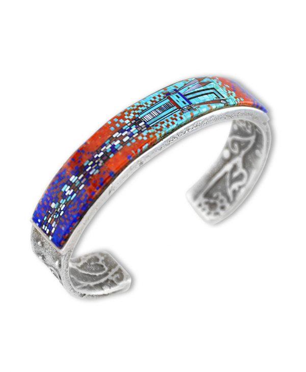 An amazing modern design inlay bracelet made by Irene and Carl Clark Santa Fe Native American Jewelry.