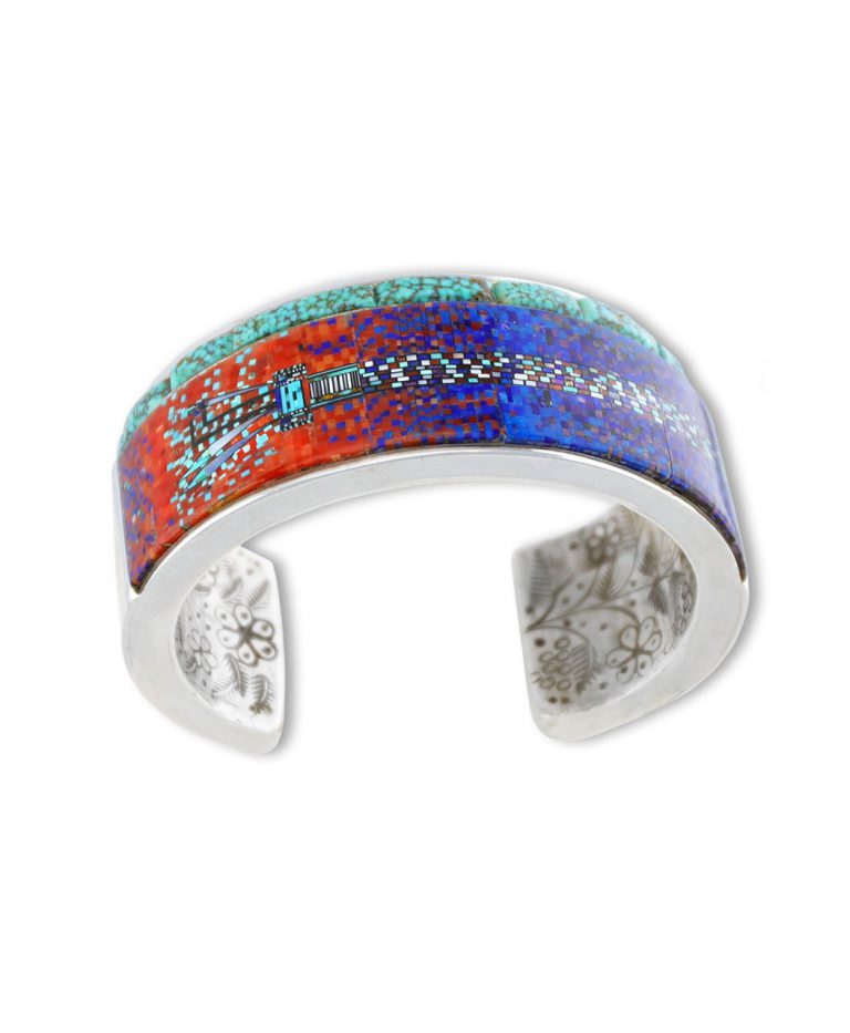 A very modern inlay design made by Carl and Irene Clark Native American Jewelry