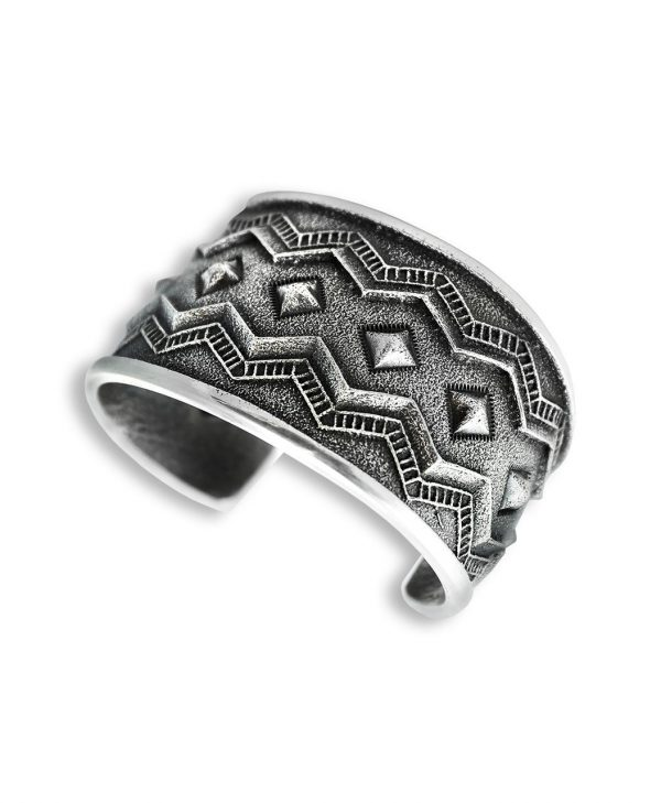 An image of a diamond pattern cuff made by Harrison Jim Santa Fe Native American Jewelry