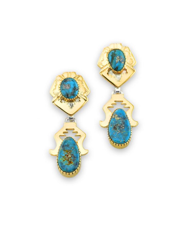 Dina Huntinghorse Santa Fe Native American Jewelry 14kt Gold and Silver Earrings with Turquoise
