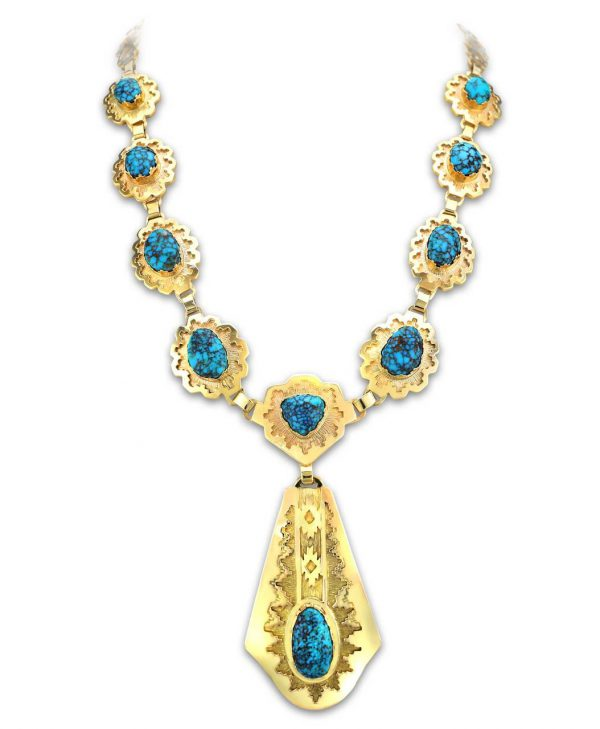 Dina Huntinghorse Santa Fe Native American Jewelry 14kt Gold Necklace with Red Mountain Turquoise