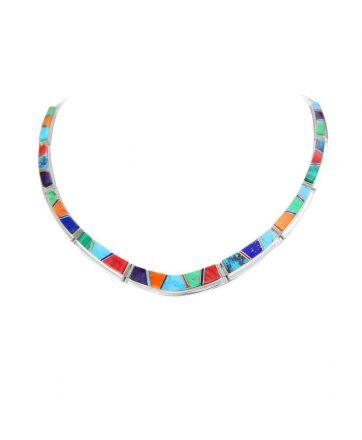 Earl plummer santa fe native american jewelry multi-stone necklace.