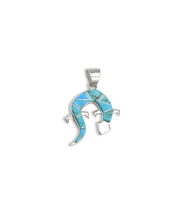 Earl Plummer Santa Fe Native American Jewelry Sterling Silver Lizard pendant.