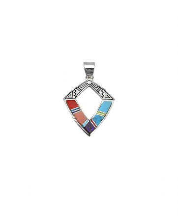 Earl Plummer Santa Fe Native American Jewelry Diamond Shaped Pendant.
