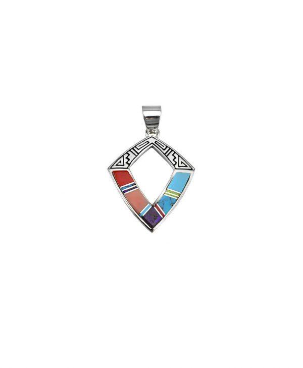 Earl Plummer Santa Fe Native American Jewelry Diamond Shaped Pendant.