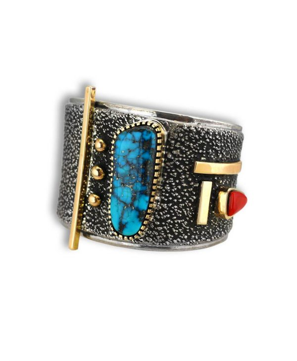 Edison Cummings Santa Fe Native American Jewelry Silver and Gold Coral and Turquoise Modern Cuff.