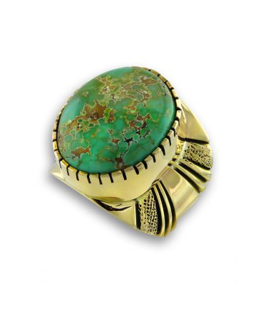 A turquoise ring made by Leonard Nez Santa Fe Native American Jewelry