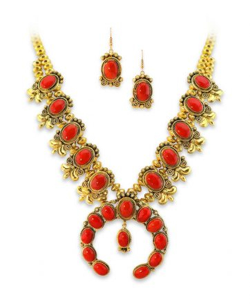 Mark Yazzie Santa Fe Native American Jewelry 18K Gold and Coral squash blossom.