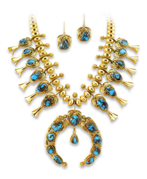 Mark Yazzie Santa Fe Native American Jewelry 18K Gold Squash Blossom with Turquoise.