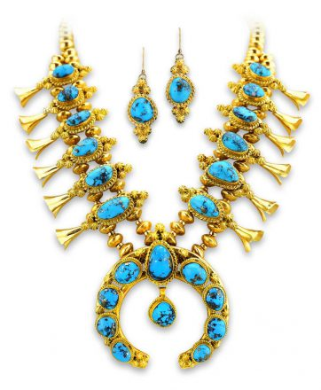 Mark Yazzie Santa Fe 18K Squad Blossom Santa Fe Native American Jewelry