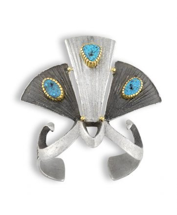 A Michael Roanhorse Silver Turquoise Cuff Native American Jewelry.