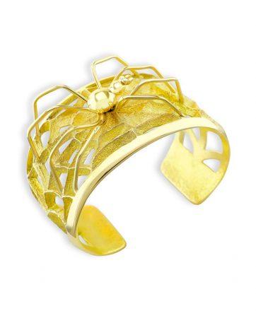 Monty Claw Santa Fe Native 18K Gold Spider and Web Bracelet.