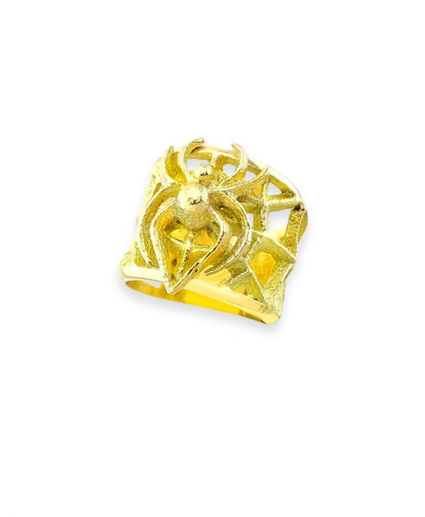 Monty Claw Santa Fe Native Gold Spider and Web Ring 18k Gold.