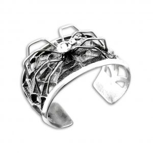 Monty Claw Santa Fe Native American Jewelry Sterling Silver Spider and Web Cuff.