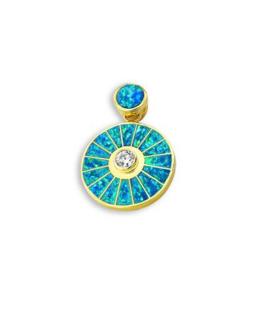 A Diamond and Opal 14K Gold Sun Pendant Santa Fe Native American Jewelry