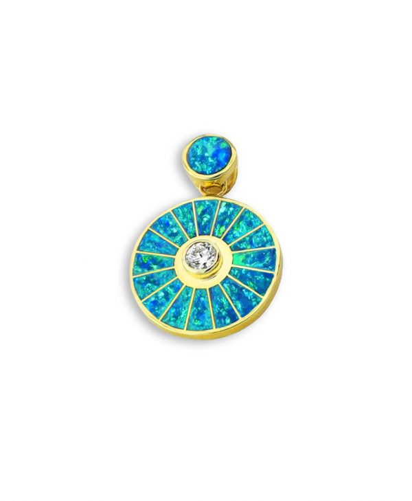 A Diamond and Opal 14K Gold Sun Pendant Santa Fe Native American Jewelry