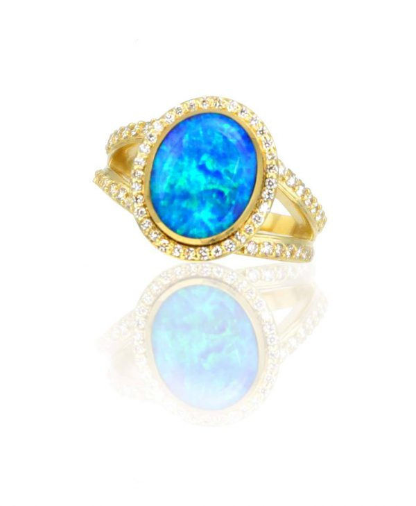 Gold and Turquoise Cabochon ring by Kennys on the Plaza Santa Fe.