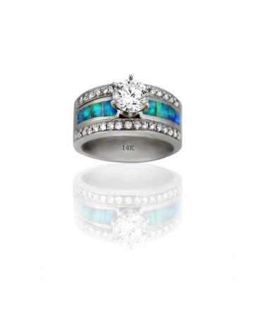 A wide wedding ring designed by Kennys on the Plaza.