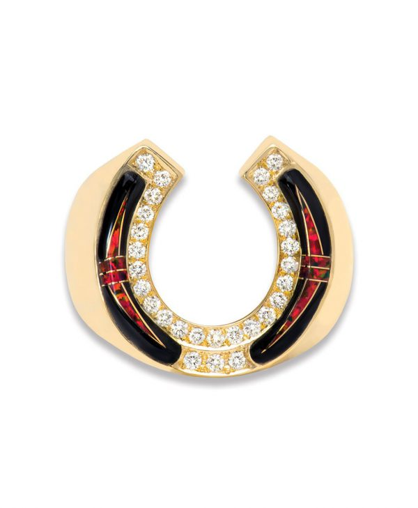 Horse Shoe 14k Gold ring with Black Jade and Opal Inlay Santa Fe Native American Jewelry.