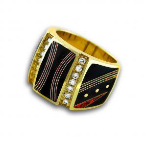 Santa Fe Native American Jewelry Black Jade and Opal Ring for Men