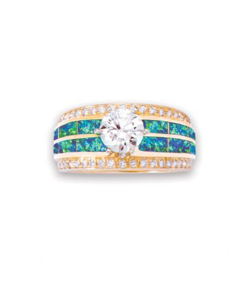 Native american jewelry Santa Fe Gold Ring with Round Center Diamond.