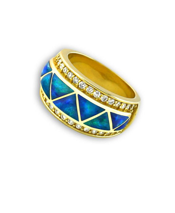 Blue-Green Opal 14K Gold Zig-Zag Triangle Ring Santa Fe Native American Jewelry
