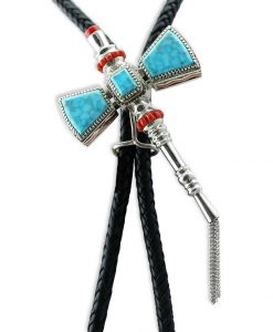 Vernon Haskie Native American Silver Turquoise and Coral Tomahawk Bolo