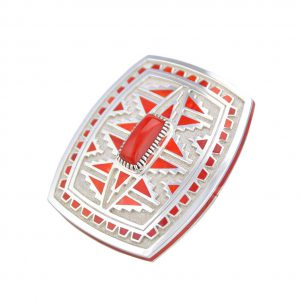 Vernon Haskie Santa Fe Native American Silver Red Coral Belt Buckle.
