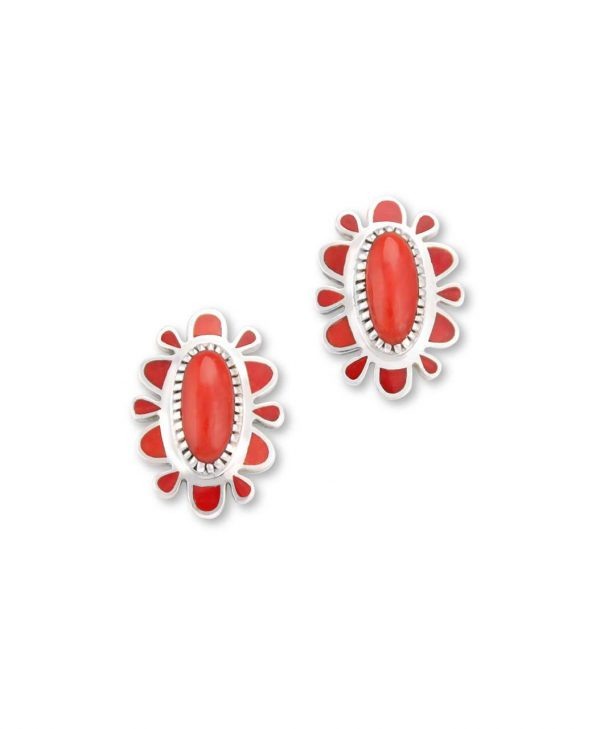 Vernon Haskie Santa Fe Native American Jewelry Sterling Silver Red Coral Earrings.