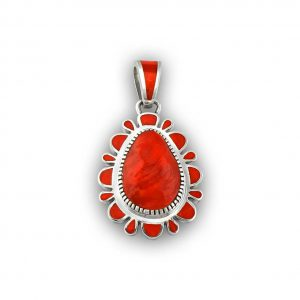 Vernon Haskie Sterling Silver Red Coral Natural Pendant Native American Made Located At Kenny's on the Plaza in Santa Fe New Mexico