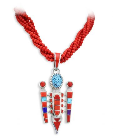 Vernon Haskie Santa Fe Native American Jewelry Silver Pendant Red Coral and Turquoise.