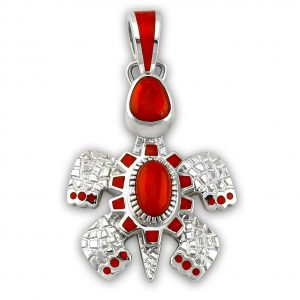 A coral turtle pendant made by Vernon Haskie Santa Fe Native American Jewelry