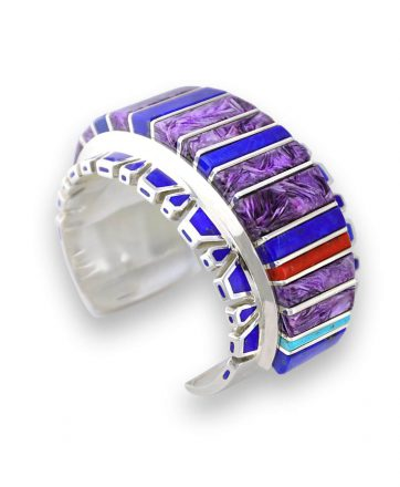 Vernon Haskie Native American Jewelry in Santa Fe provides a sterling silver multi-stone inlay cuff.