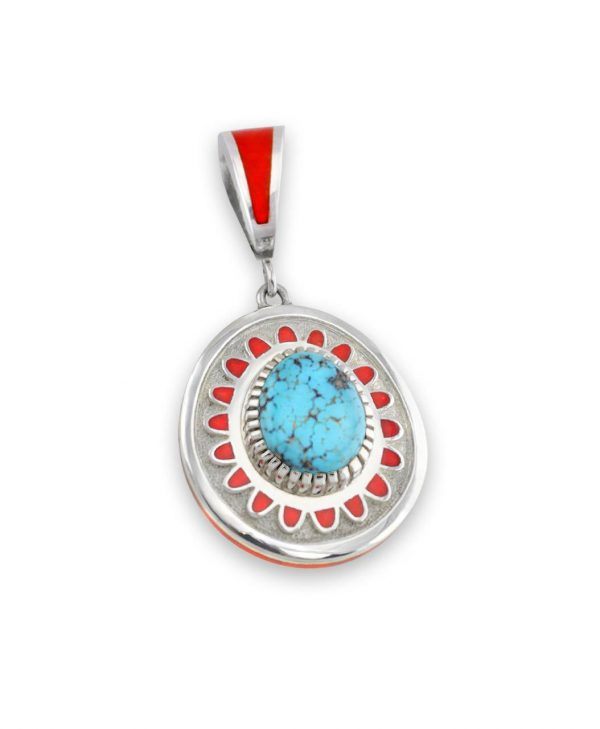 Vernon Haskie Native American Jewelry in Santa Fe gives an awesome sterling silver coral and turquoise pendant.