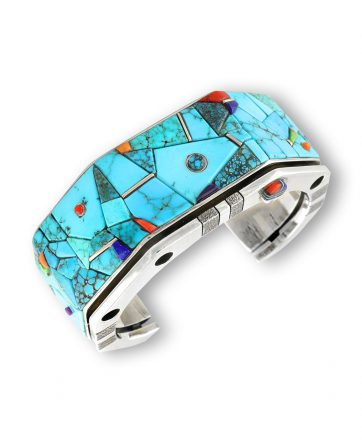 A turquoise cuff made by Wes Willie Santa Fe Native American Jewelry
